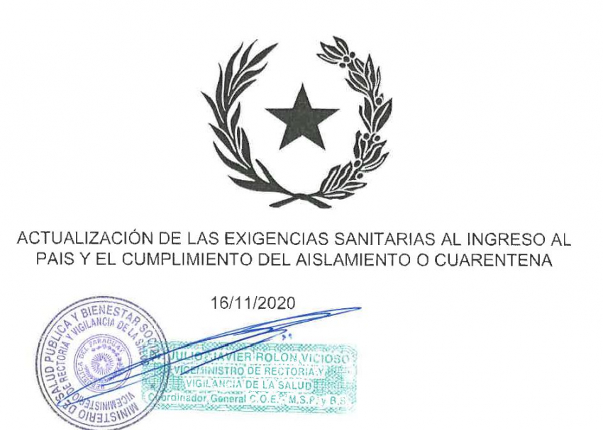 Actualización de las exigencias sanitarias al ingreso al país y el cumplimiento del aislamiento o cuarentena.