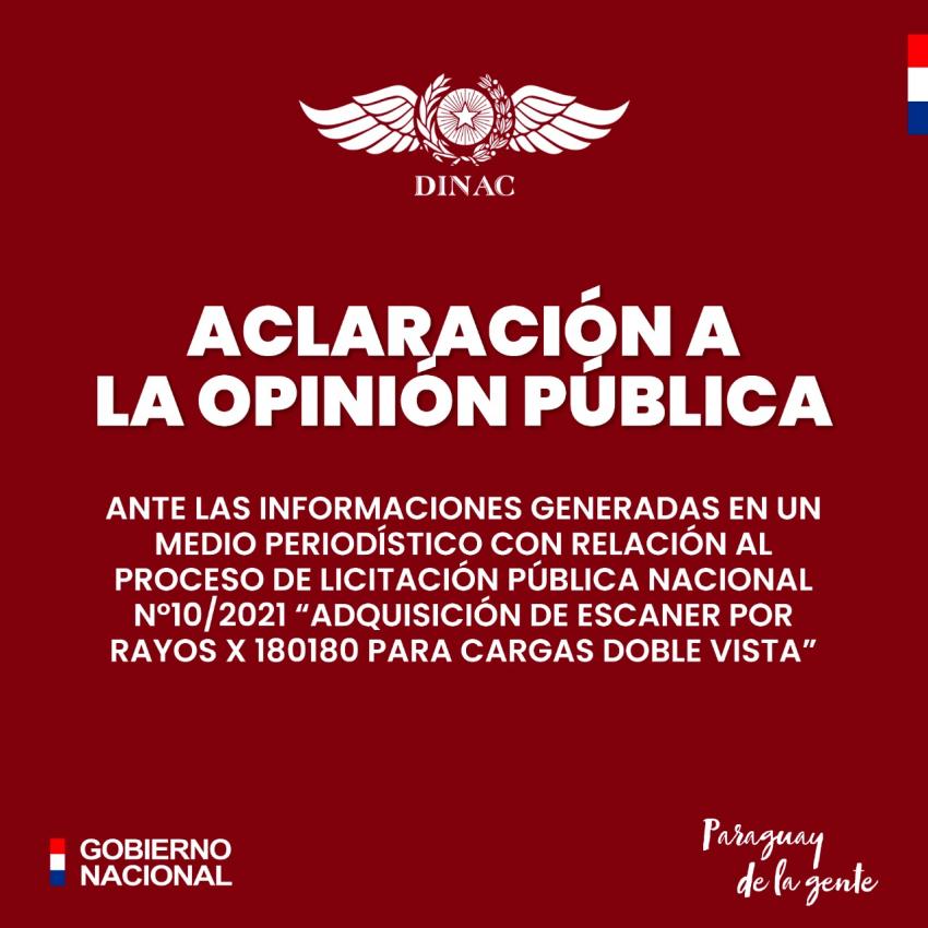 ACLARACIÓN A LA OPINIÓN PÚBLICA - 02/08/2021